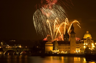 New Year's fireworks in Prague.