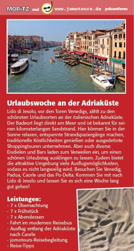 Urlaubswoche an der Adriaküste mit jomotours und dem MORITZ Stadtmagazin